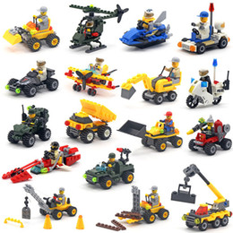 Building Blocks Cars Minifig Fire truck police car Mini Figure Toys Ninja figures crane Raytheon Reconnaissance car tank Excavator Assault