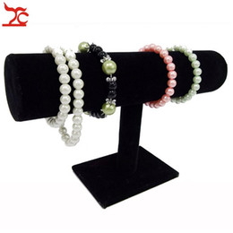 Black Velvet Bracelet Chain Watch T-Bar Rack Jewelry Hard Display Stand Holder Jewelry Organizer Hard Display Stand