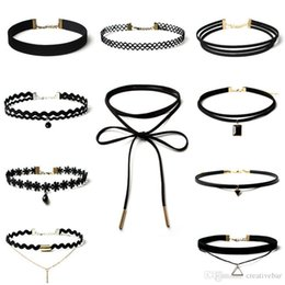 2017 New Arrival Vintage Chocker 10Pcs Lot Stretch Velvet Gothic Lace Choker Maxi Necklace Punk Fashion Collier Femme