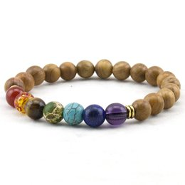 Fashion Mens Natural Wooden Beaded Root Chakra Bracelet 7 Chakra Yoga Meditation Bracelet Mala Beads Bracelets for Women