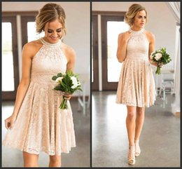 2018 Nude Lace Bridesmaid Dresses Country Knee Length With Pearls Jewel Neck Zipper Back Western Maid of Honor Dresses Custom Made Plus Size