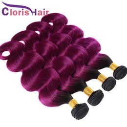 Glamorous Wet and Wavy Purple Ombre Weave Mix 4 Bundles Wholesale Two Tone 1b Purple Brazilian Body Wave Ombre Human Hair Extensions