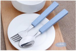 Stainless Steel Forks Soup Ladle Tableware Wheat Straw Dinnerware Set ECO Friendly Plastic Handle For Children School Picnic Cutlery