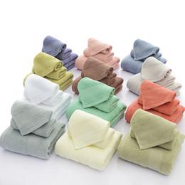 3Pcs towel set 100% cotton towel bathing face towel soft strong absorbent spa salon househould many color home textiles