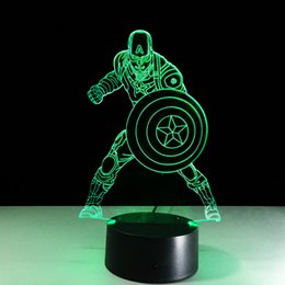 Captain American for Children table lighting 7 Color Changing building USB Optical Illusion Home Decor Table Lamp Novelty Lighting