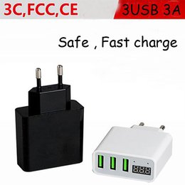 3 USB triple Port wall charger Travel Adapter LED display usb 110v-250v AC 5V 3A fast charge power dock for samsung HTC huawei vivo phone
