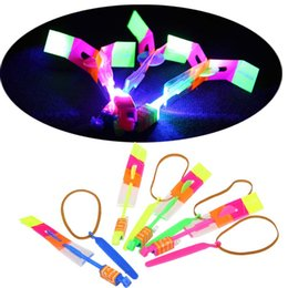 DHL Free&Fast Newest Toy LED Amazing Arrow Helicopter Flying Umbrella LED Flyer Arrow Helicopter Elastic flshing gow up roket chirstmas toy