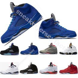 Cheap Men Basketball Shoes 5 5s Cement Blue OG Black Metallic White Grape fire red Suede 5s mens sports shoes Sneaker size 40-47
