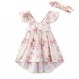 2018 INS baby girl Kids Summer clothes 2piece set Pink blue Rose Floral Dress Jumpsuits Halter Neck Ruffle Lace Shoulder Back headband