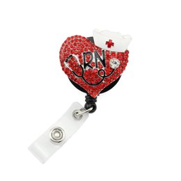 Red rhinestone RN Retractable ID Name Tag Badge reel