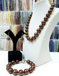 Charming 10-11mm South Seas Chocolate Pearl Necklace 18inch 925 Silver Clasp Free Bracelet Earrings