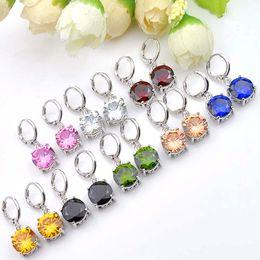 Luckyshine Hot!!! Fashion Vintage Round Shaped Topaz Morganite Kunzite Peridot Gemstone for women 925 silver charm Cz Zircon Drop earrings
