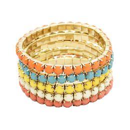 Multi Strand Resin Stone Colorful Gem Beaded Stretch Bracelet Sets