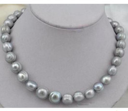 11-12mm Natural South Sea Gray Pearl Necklace 18inch 14K Gold Clasp