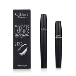 Hot Qibest 3D Fiber Lashes Plus MASCARA Set Makeup lash eyelash double mascara Free shipping 1box=2pcs