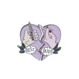 2 pcs set Best Buds Broken Heart Enamel Pins Set Brooch Pins Set Unisex Child Women's Clothing Decorate Best Friend BFF Jewelry
