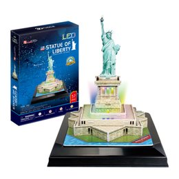 Cubicfun 3D Puzzle Statue of Liberty 37Pcs with LED Light Foam Paper Jigsaw Educational Toy Assembly DIY Building Model Gifts