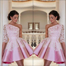 Elegant One Shoulder Pink Satin Short A Line Homecoming Dresses Lace Appliques Mini Cocktail Party Prom Dresses
