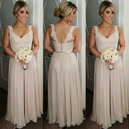 Nude Country Bridesmaids Dresses Long A line Chiffon Spaghetti Lace Straps Backless Floor Length Prom Gowns Bridesmaid Dress Cheap BM0174