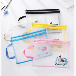 Mesh Zipper Pouch A4 Size Double Layer Bags Clear Zipper Pouch Small Organizer bag Zipper Folder Cosmetic Bags Travel Storage pouch Car