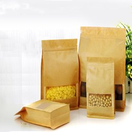 50pcs Frosted Windows Standin Recloseable Kraft Paper Bag Self-sealed Large Capacity Yellow Kraft Paper Pouch with Square Bottom