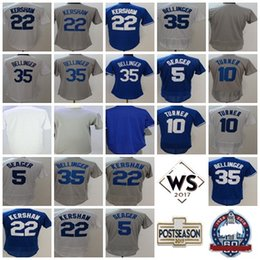 Los Angeles 2017 WS Postseason Patch 5 Corey Seager 35 Cody Bellinger 10 Justin Turner Mens Lady Boys Blank Cool Flex Baseball Jerseys