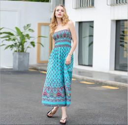 Hot Sell Europe and America Sexy Wrapped chest Women's long dress Printed dress
