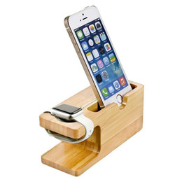 Luxury Bamboo Wood Charger Station for Apple Watch Charging base bracket Charger Dock Stand Holder for IPhone X 8 Dock Stand Cradle Holder