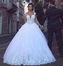 Elegant 2019 Lace Arabic Ball Gown Wedding Dresses Off-Shoulder Bridal Gowns Plus Size Chapel Train Bodice Lace-Up Back A Line Wedding Dress