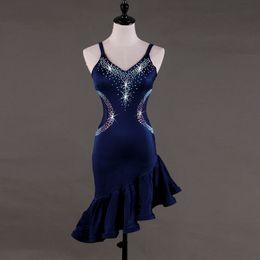 2018 custom blue modern dance costumes for women latino dress dance latin  rumba dance dresses fringe latin salsa dress women latin dress 34f4c20bd