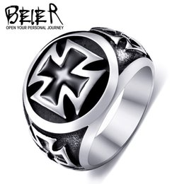 New Men's Stainless Steel Iron Cross Ring European American High-quality Fashion 316L Titanium Steel Rings Jewelry Gift