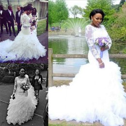Trendy Lace Ruffles Organza African Mermaid Wedding Dresses Sheer Long Sleeve Tiers Plus Size Fitted 2018 Bridal Gowns Train Bride Dresses