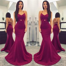 2019 Prom Dresses Sexy Spaghetti Mermaid Long Sleeveless Lace Up Backless Custom Made Evening Gowns With Front Hollow Out