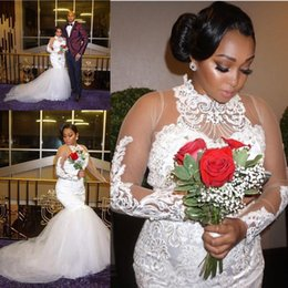 African Plus Size High Neck Wedding Dresses Lace Appliques Beads Sheer Long Sleeves Tulle Mermaid Bridal Gowns Vestidos De Noiva