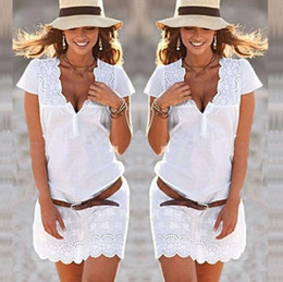 European and American new lace and short sleeves party dress