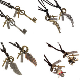 Retro Charm Pendants Handmade Genuine Leather Necklaces Vintage Cowhide Anchor Skull Statement Mens Pendant Necklaces Punk Fashion Jewelry