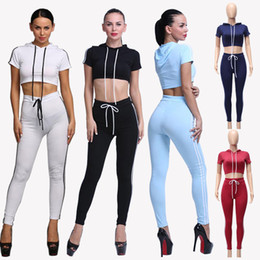 New Women Cotton Tracksuit Set Slim Fit Two-Piece Gym Yoga Clothes Tops Pants Fashion Short Sleeve Hooded Crop Hoodie Jogger Pants DZF0614
