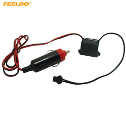 FEELDO 12V DC Car Decoration EL Fibre Neon Glow Lighting Rope Strip Power Driver Inverter With Cigar Cigarette Lighter #5253