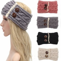 Hot Sale winter wool knitted headband Women Adult teenager Mummy hair head band wrap turban headwear with Lace button accessories Bohemia