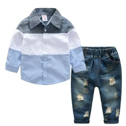 Logo Designer Baby Boy's shirt Pants Two-piece Suit Kids Brand Children's 2pcs Cotton Clothing Sets Baby Boy's Cowboy Sets