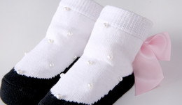 2018 New Beaded Newborn Shoes Socks Pink Bow Princess Stockings Lolita Girls Cute Baby Socks YL129