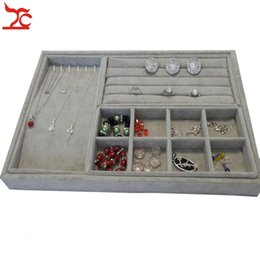 Velvet Ring Earring Collection Case Beads Organizer Necklace Storage Tray 4Pcs Jewelry Organizer Tray 35*24*3cm