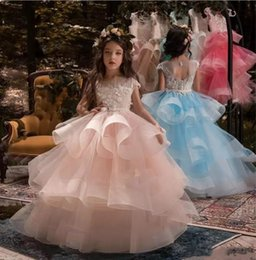 Capped Sleeve Lovely Girl's Pageant Dresses 2018 Puffy Ball Gowns For Wedding Party Vintage Lace Organza Kids Formal Wear BA9411