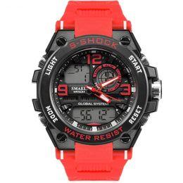 Reloj Deportivo Masculino a prueba de agua SMAEL Marca Color Rojo LED Electrónica Cronógrafo Fecha Automática Reloj de Pulsera Relojes Deportivos Al Aire Libre 1603