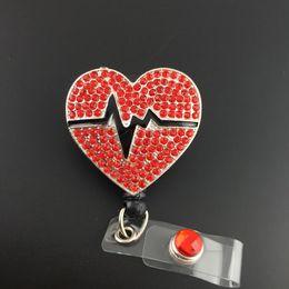 10pcs a lot Crystal Red Heart Rhythm Retractable ID Badge Reel nurse holder