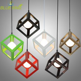 Vintage American country style small black cube cage retro pendant lights industrial lighting black,white,red color iron material