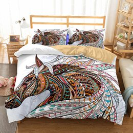 quilt duvets Coupons - Art Horse Pattern Oil Painting Printed Bedding Sets All Sizes Pillow Case Quilt Cover Duvet Cover
