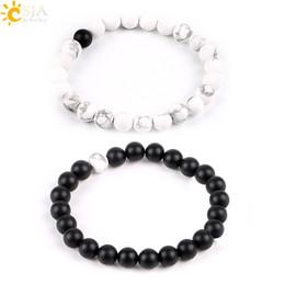 CSJA 2PCS Lovers Couples Balance Jewelry Black & White Natural Stone Beads Strand Distance Bracelets Matte Agate Onyx Howlite Turquoise P052
