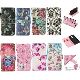Flower Leather Wallet Case For Galaxy S9 Plus S8 A8 2018 (J3 J5 J7)2017 Unicorn Butterfly Dreamcatcher Owl Card Flip Cover Pouch Luxury Skin