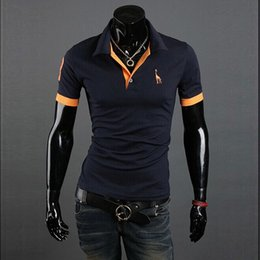 Mens Polo Shirt Brands 5XL Male Short Sleeve Casual Slim Solid Color Deer Embroidery Polos DK2006T